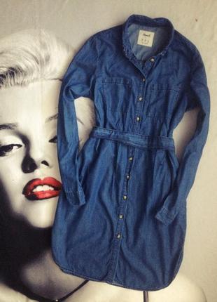 Джинсовое платье рубашка миди свободного кроя с карманами под пояс