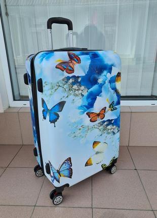 Большой пластиковый чемодан   butterfly 75 см