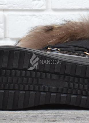 ... Дутики женские луноходы на платформе с мехом енота черные prima d arte  унты зимние5 fd2ca3425d227