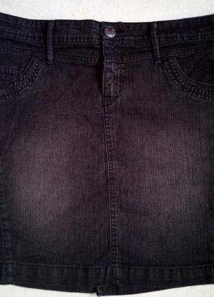 Джинсовая темно-серая юбка