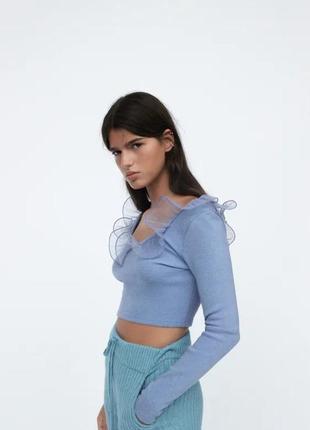 Крутая небесная блуза от zara