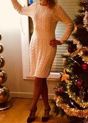 Платье молочного цвета, вязаное, натуральный состав