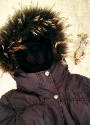 Зимний пуховик черный с натуральным мехом, хс