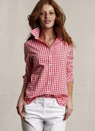 Рубашка батник в клетку клеточку montego германия красно белую клетку размер l 12 46