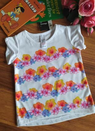 Модная трикотажная футболка george на 9-12 месяцев.