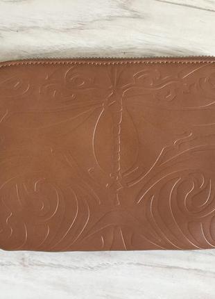 Кожаный клатч красивый коричневый цвет parfois