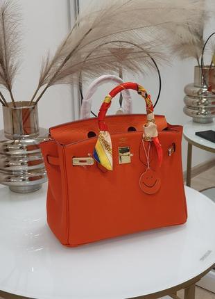 Модная кожаная женская сумка в стиле hermes birkin 30см.