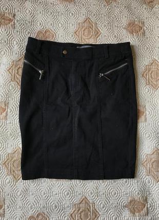 Чёрная джинсовая школьная юбка reserved