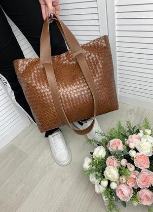 Большая женская сумка.  имитацией плетения,шоппер, плечевые ручки