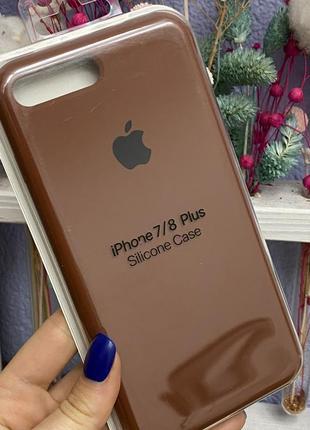 Силиконовый чехол silicone case iphone 7plus / 8plus шоколад