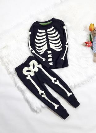Коттоновая пижама skeleton на 18-24 мес, состояние идеальное