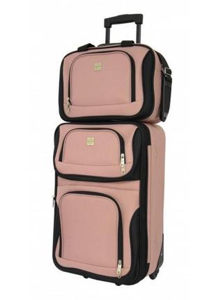 Комплект чемодан + сумка bonro best небольшой вишневый зеленый розовый синий