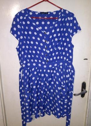 Натуральное,воздушное платье в горох-клёш,с карманами,поясом,большого размера,батал4 фото