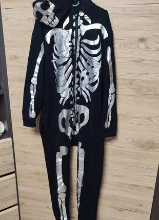 Взрослый кигуруми, пижама, костюм скелет, s-m