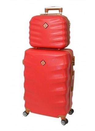 Комплект чемодан + кейс bonro next (небольшой) бордовый красный фиолетовый