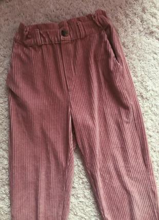 Штаны брюки в рубчик розовые