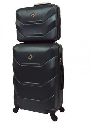 Комплект чемодан + кейс bonro 2019 (небольшой) изумрудный синий салатовый черный желтый