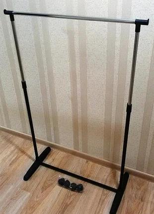 Стойка для одежды черная размеры 75*38*82/152 см на колесиках