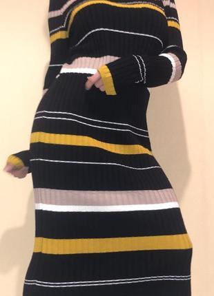 Вязаное платье в полоску primark, s-m.