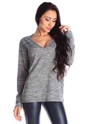 Пуловер цвета серый меланж