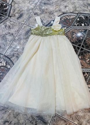 Брендове плаття h&m 5/6 рочків з фатіном золотистим ціна 119 грн