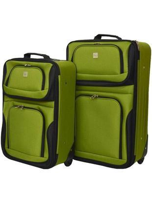 Набор чемоданов bonro best 2 шт зеленый вишневый розовый синий