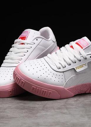 Кроссовки кожаные женские 17991, puma cali sport, белые с розовым