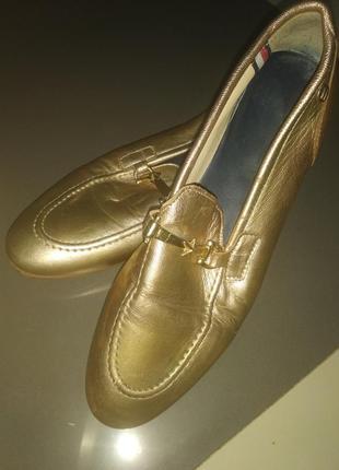 Лоферы туфли tommy hilfiger золотые золото