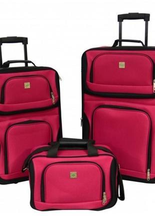 Набор чемоданов bonro best 2 шт и сумка вишневый зеленый синий розовый