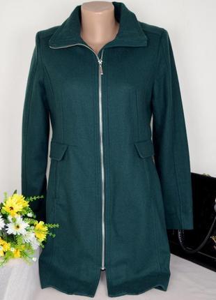 Брендовое темно-зеленое демисезонное пальто на молнии h&m шерсть этикетка