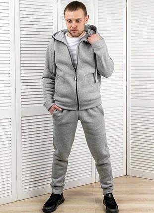 Тёплый костюм кофта с капюшоном на молнии, брюки джоггеры