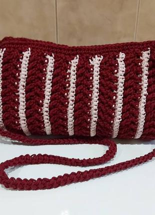 Вязаная  дамская сумка  .трикотажная пряжа  , пэ шнур
