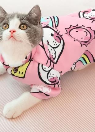 Розовая кофта на флисе для мобак котов животных,s р. новый.