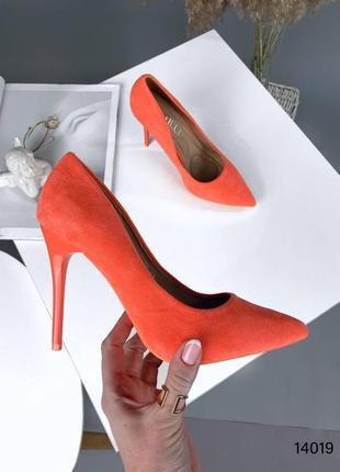 Туфли оранжевые эко замша на каблуке