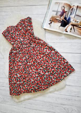 Платье в красные цветочки хлопок пышное платье сарафан корсет сукня в квіти пишна