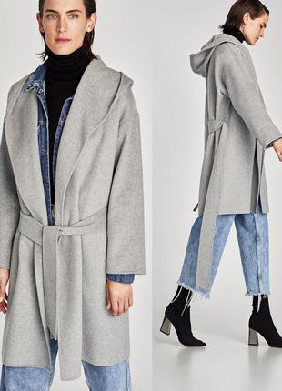 Zara пальто с капюшоном шерсть