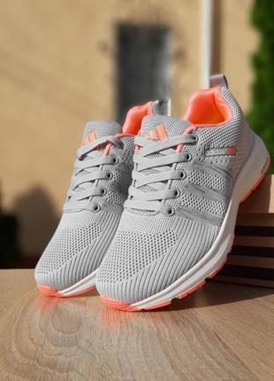 Женские кроссовки adidas neo (светло/серые с розовым)  #адидас