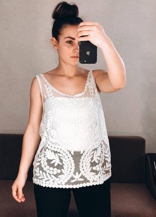 Майка блуза кружево нежная мятная