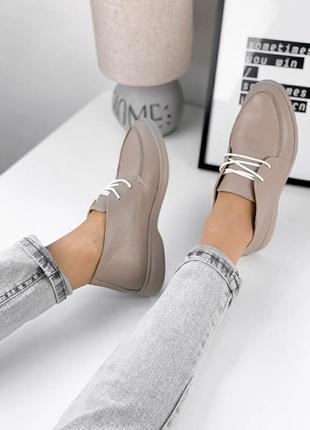 Кожаные лоферы на шнурках
