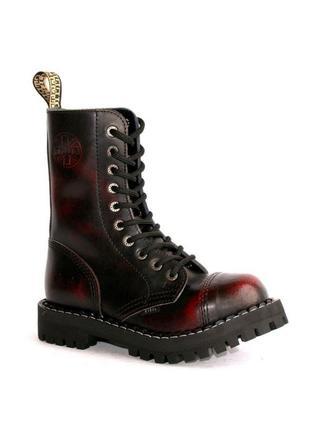 Высокие ботинки steel бордово-черные с эффектом затертости 10 дырок