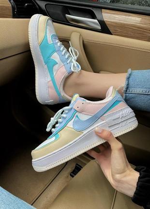 Кроссовки nike air force shadow white clacier blue кросівки