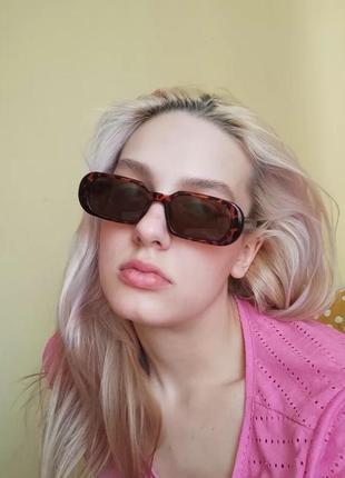 Крутые очки узкие овальные леопардовые роговые солнцезащитные ретро окуляри
