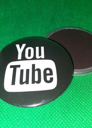 Круглый магнит youtube ютюб твоя труба