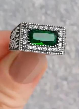 Серебряная печатка, мужское кольцо с зеленым фианитом, 925, чернение