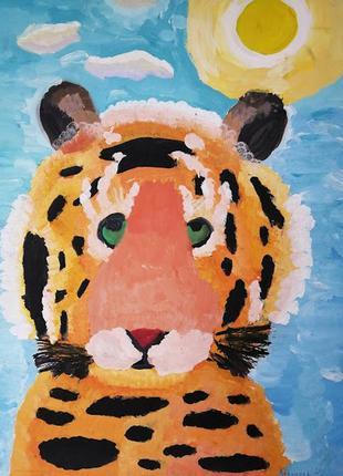 """Картина гуашью """"тигр"""". живопись  а3"""