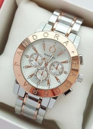 Крутейшие женские наручные часы в цвете серебро-розовое золото