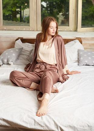 Піжама 4в1 піжамка 🤎🤎🤎 пижама домашній костюм халат халат-кімоно кимоно