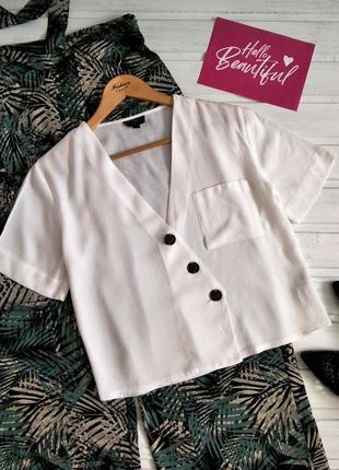 Укороченная белая блуза topshop из натуральной ткани