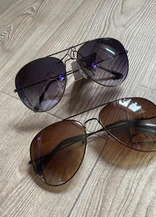 Очки унисекс коричневые капли авиаторы 🧑✈️ в стиле rayban