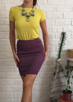 Сиреневая трикотажная стрейчевая яркая юбка